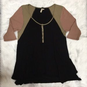 FREE PEOPLE Henley thermal top tri color block